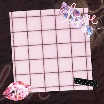 Vetor de fundo de papel de parede feminino de colagem, padrão de grade rosa