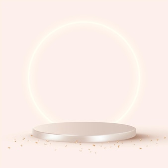 Vetor de fundo de produto 3d de luxo em ouro rosa