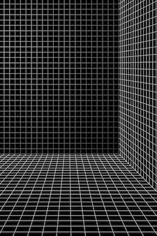 Vetor de fundo de sala de grade de wireframe 3d