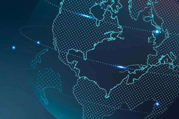 Vetor de fundo de tecnologia com rede global em tom azul