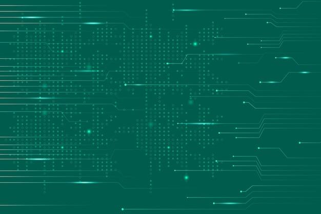 Vetor de fundo de tecnologia de dados verde com linhas de circuito