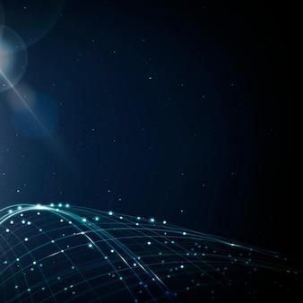 Vetor de fundo de tecnologia de rede de internet com onda digital azul