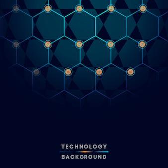 Vetor de fundo de tecnologia de rede hexágono azul