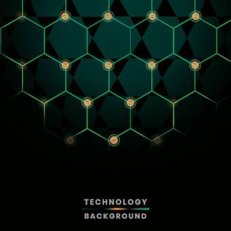 Vetor de fundo de tecnologia de rede verde hexágono
