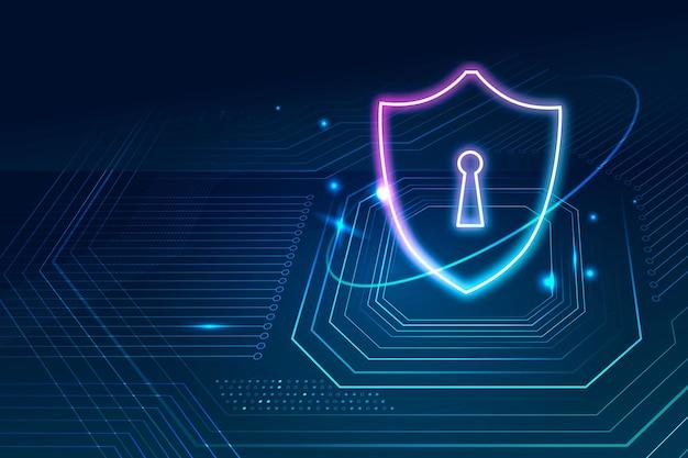 Vetor de fundo de tecnologia de segurança de dados em tom azul