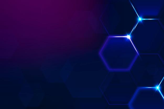 Vetor de fundo de tecnologia digital com borda de hexágono em tom roxo escuro
