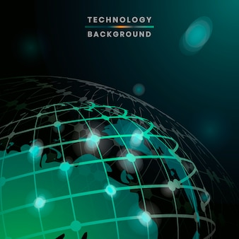 Vetor de fundo de tecnologia futurista globo verde