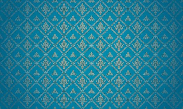 Vetor de fundo de tema de luxo tailandês padrão azul e dourado