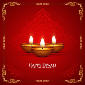 Vetor de fundo decorativo feliz festival de diwali de cor vermelha