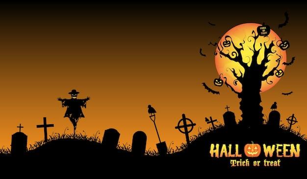 Vetor de fundo do cemitério de halloween