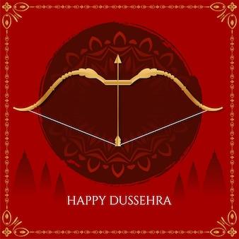 Vetor de fundo do festival indiano feliz dussehra de cor vermelha