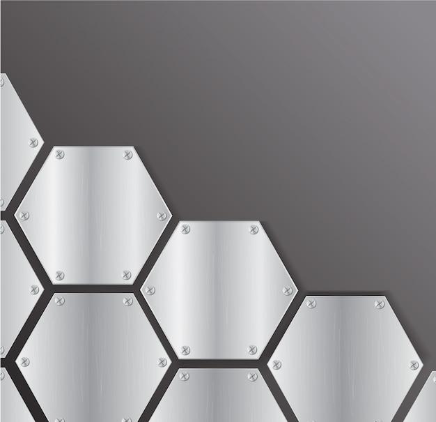 Vetor de fundo do hexágono metal de placa