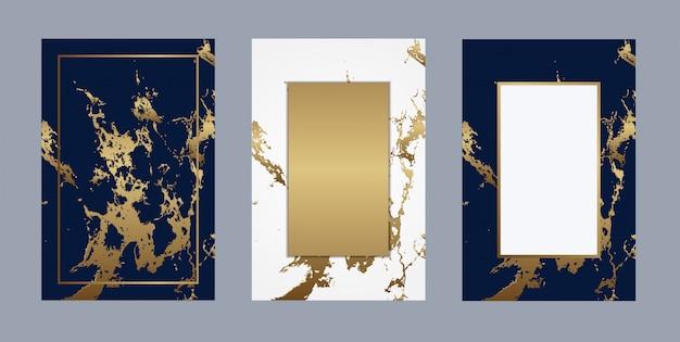 Vetor de fundo dourado de luxo de mármore de cartão de casamento