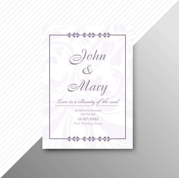 Vetor de fundo elegante de convite de casamento lindo