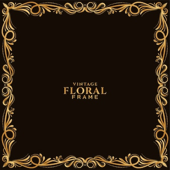 Vetor de fundo elegante de design floral dourado