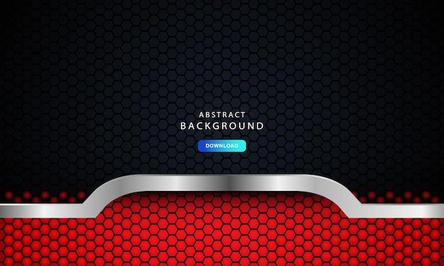 Vetor de fundo escuro abstrato vermelho, conceito corporativo moderno com efeito prateado