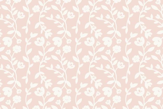 Vetor de fundo estampado floral rosa