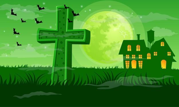 Vetor de fundo esverdeado da noite de halloween