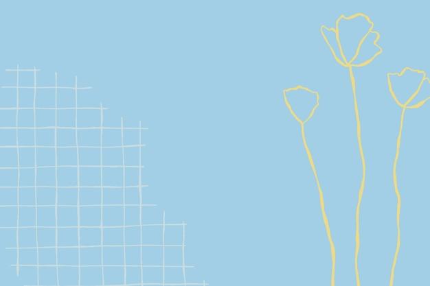Vetor de fundo floral de grade azul com doodle de flor de flores silvestres