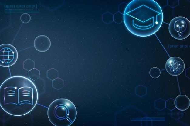 Vetor de fundo geométrico de educação científica em remix digital gradiente azul