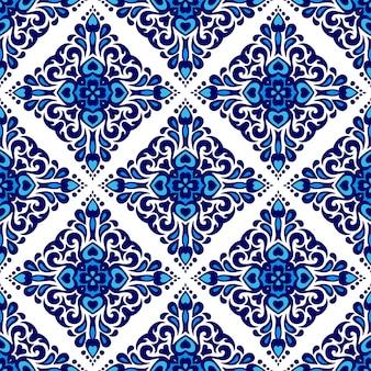 Vetor de fundo islâmico de azulejo mediterrâneo lindo sem costura