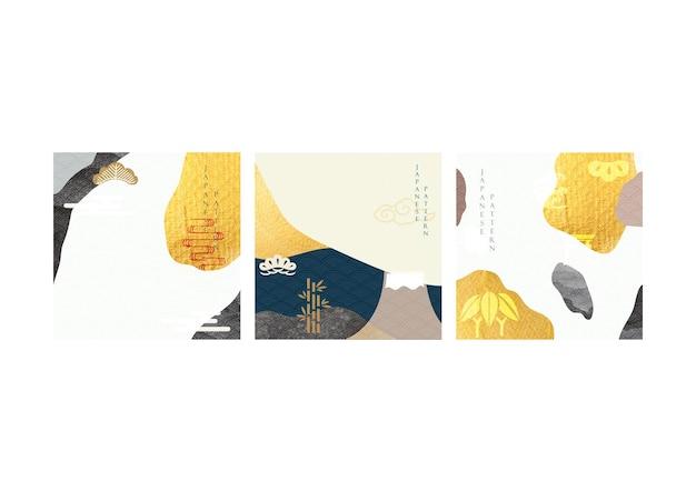 Vetor de fundo japonês. ícones e símbolos asiáticos. design de cartaz tradicional oriental. padrão e modelo abstratos. textura de folha de ouro e elementos aquarela pretos. design de banner.
