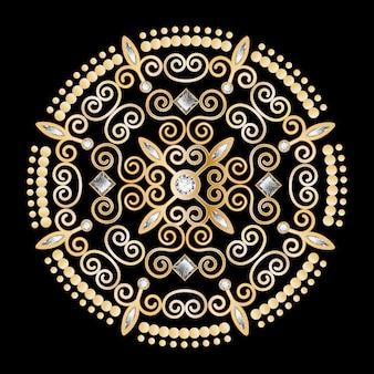 Vetor de fundo luxo diamante flor círculo