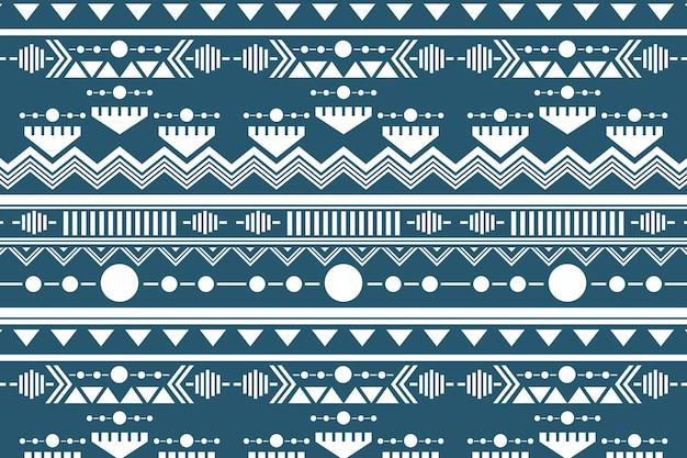 Vetor de fundo tribal sem costura padrão, design branco e azul