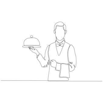 Vetor de garçom de linha contínua