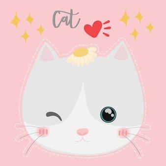 Vetor de gato bonito. design de t-shirt. cartão de saudação