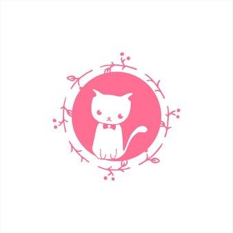 Vetor de gato simples e moderno bonito dos desenhos animados no círculo
