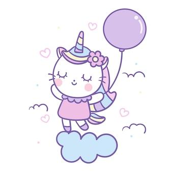 Vetor de gato unicórnio fofo segurando balão