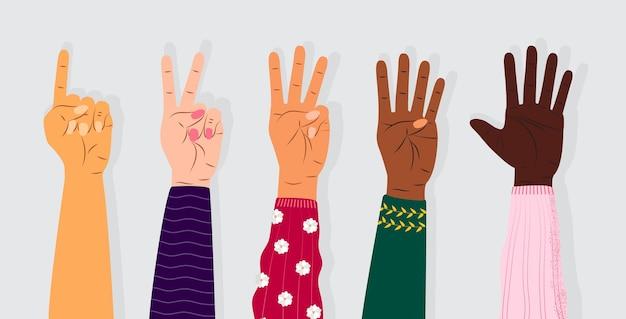Vetor de gesto de mão e contagem nos dedos
