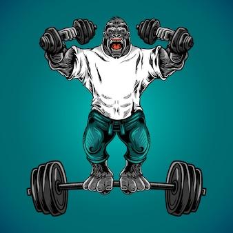 Vetor de ginásio de fitness gorila