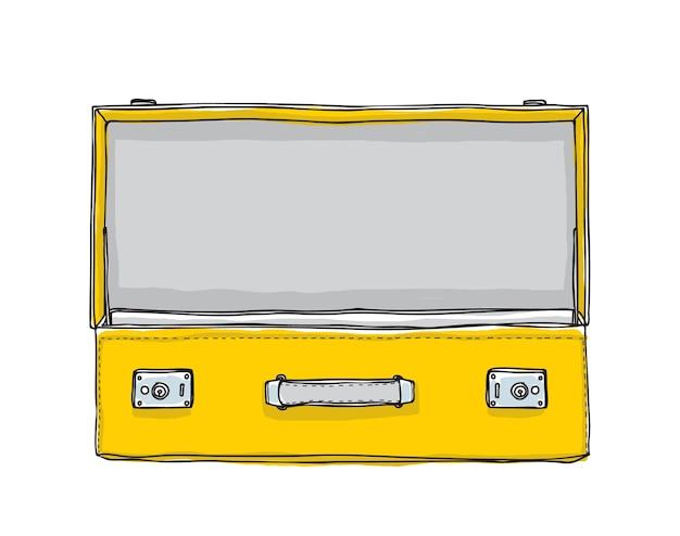 Vetor de giro de mão desenhada vintage mala amarela