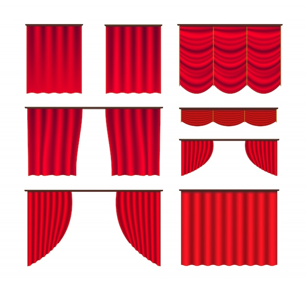 Vetor de grande conjunto de palco de cortina