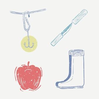 Vetor de gravuras fofas, vida de pescador e coleção de ilustração de maçã