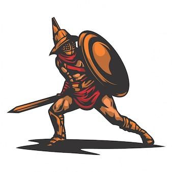 Vetor de guerreiro de defesa de sparta