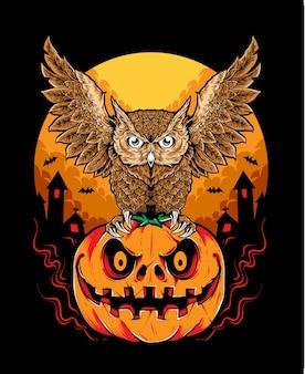 Vetor de halloween coruja