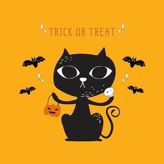 Vetor de halloween gato preto e morcego doodle.