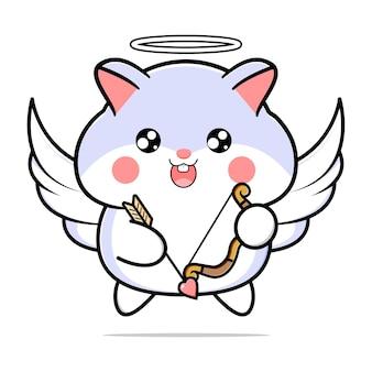 Vetor de hamster cupido fofo com arco e flecha de asas