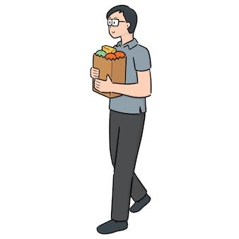 Vetor de homem carregando sacola de compras