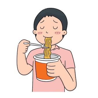 Vetor de homem come macarrão