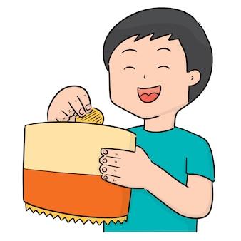 Vetor de homem comendo batatas fritas