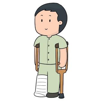 Vetor de homem usando muletas