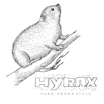 Vetor de hyrax em tronco de árvore. ilustrações de animais desenhadas à mão parecem realistas