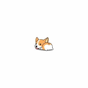 Vetor de ícone bonito dos desenhos animados de corgi butt