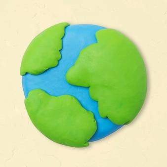Vetor de ícone de argila de terra fofo ambiente diy gráfico de artesanato criativo