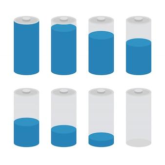 Vetor de ícone de bateria conjunto isolado. símbolos do nível de carga da bateria, completo e baixo.