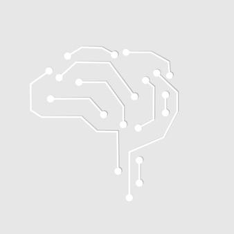 Vetor de ícone de cérebro de conexão de tecnologia ai no conceito de transformação digital branco